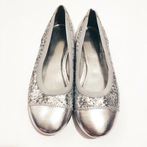 Lands End Silver Sparkly Round Toe Sequin Flats 6